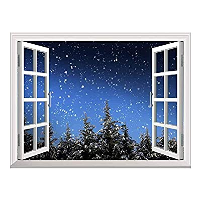 Original Creation, Delightful Creative Design, Snow Falling on The Pine Trees Outside of The Window on Christmas Eve Night Peel and Stick Wall Mural