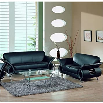 Amazon.Com: Global Furniture Usa Charles 2-Piece Leather Sofa Set