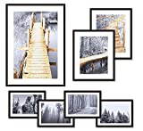 WOOD MEETS COLOR Gallery Picture Frames Set of 7 with Real Glass Window, Including Hanging Template, White Photo Mats, 1-A3, 2-8x10, 4-5x7 Collage Frames