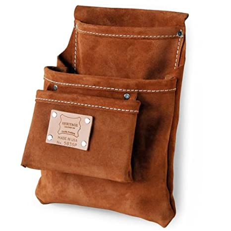 9570975ac721 Heritage Leather 583SP 3-Pocket Professional Split Leather Drywall Bag - Tool  Pouches - Amazon.com