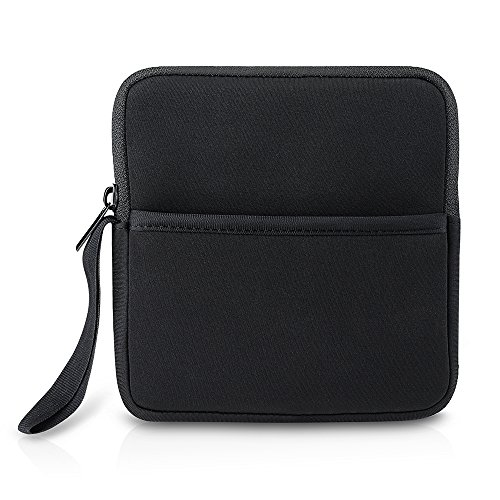 OMorc Shockproof Neoprene Protective Storage Carrying Sleeve Case Pouch Bag With Extra Storage Pocket for External USB CD DVD Blu-Ray Drivers Hard Drive - Black