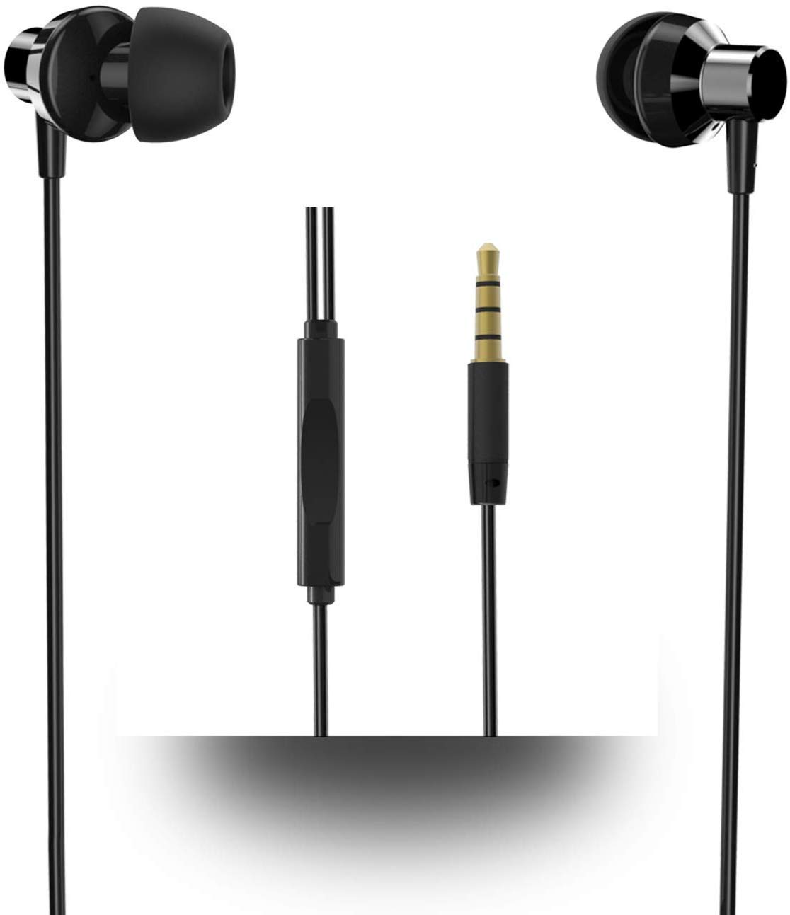 Wired Earphones,HOTWAV Earbuds with Microphone Control, Noise Isolating in Ear Headphone for Digital Devices Such as Smartphones,Tablets and More. Black