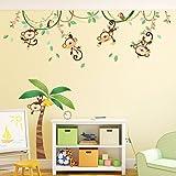 Decowall, DM-1507, Monkeys on Vine peel & stick Nursery wall decals stickers
