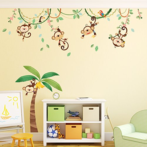 Decowall DA-1507 Monkeys on Vine Kids Wall Decals Wall Stickers Peel and Stick Removable Wall Stickers for Kids Nursery Bedroom Living Room (Monkey Wall Decals For Nursery)