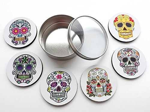 day-of-the-dead-coasters-gift-tin-35-inch-rubber-neoprene-home-decor-sugar-skulls-dia-de-los-muertos