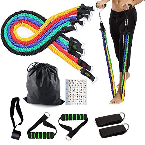 Elastic Foam Strap - Resistance Bands Set, 11 Pieces with 5 Exercise Elastic Bands, Door Anchor, Ankle Straps, Foam Handles, Carrying Bag - Heavy Duty Resistance Bands with Protective Nylon Sleeves for Resistance Training