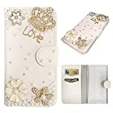 """Bookstyle Wallet Case for Asus Zenfone 2 Laser ZE500KL 5.0"""" Smartphone - Generic 3D Bling Rhinestone Diamond Cover PU Leather Magnetic Flip Stand Pouch + Stylus Pen(Crown)"""