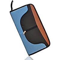Hiware Nylon CD/DVD 64 Capacity Case, Heavy Duty CD Wallet for Car, Home, Office or Travel Use, Portable CD Disc Holder Storage Box Bag (Black and Blue)