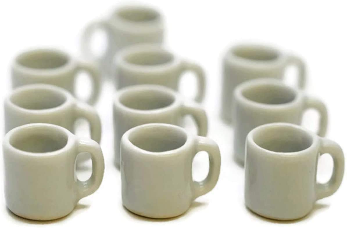 1shopforyou 10 White Ceramic Coffee Mug Tea Cup Dollhouse Miniatures Food Kitchen