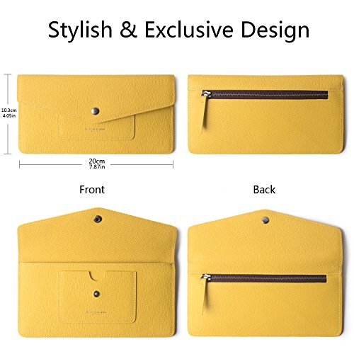 Women's Wallet Leather RFID Ultra-thin Envelope Ladies Purse Travel Clutch (Crosshatch Yellow) by Borgasets (Image #6)