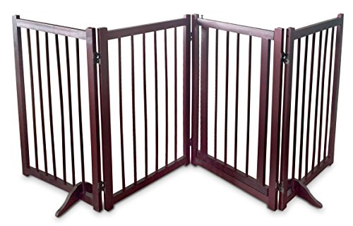 Dog Gate Pet Fence Barrier - Large 80'' W x 30'' H Portable Collapsible Folding Wooden Panels Doggie Puppy Fencing Enclosure System -Free Standing With Walk Thru Latch Lock Doggy Door Perfect Life Ideas by Perfect Life Ideas