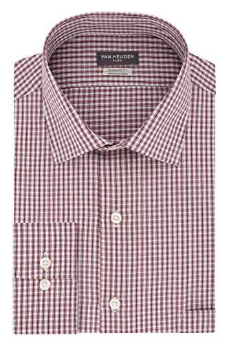 (Van Heusen Men's Dress Shirt Regular Fit Flex Collar Check, Port, 18