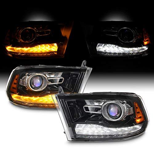 [Halogen Upgrade]For 09-18 Dodge Ram 1500 2500 3500 Blk LED DRL Switchback Projector Headlight Lamps