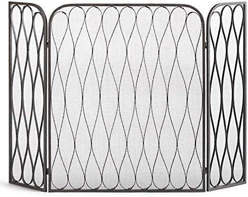LJFPB 暖炉スクリーン ヘビーデューティーファイアフェンス ストーブ/ガス火災/ウッドバーナー用 錬鉄 折りたたみ式3パネル ブラックフィニッシュ 背の高い35.4インチ (Color : Black)