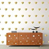 """Gold Hearts Wall Decals (3""""- 120 Decals) Removable Peel And Stick Metallic Vinyl Décor Stickers. 3 Sheets of 3 Inch Hearts. For Home, Childrens Room, Living Room, Bedroom, And Nursery."""