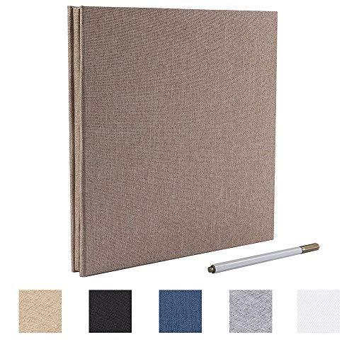 Self Adhesive Photo Album Magnetic Scrapbook Album 40 Pages Linen Hardcover Length 11 x Width 10.6 (Inches) with A Metallic Pen and Photo Album Storage Box DIY Accessories Kits (Yellow)
