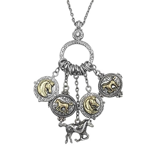 (Gypsy Jewels Long Horse Western Theme Dangle Tassel Charm Necklace (Silver Tone & Gold Tone 2 Tone))