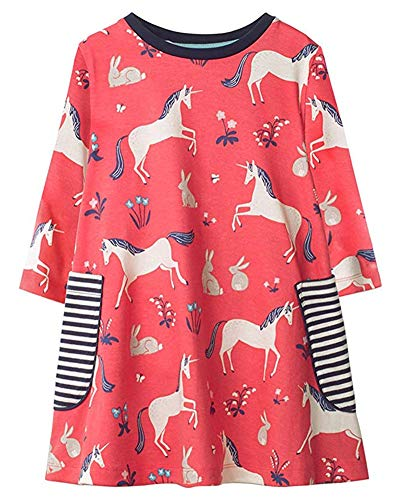 Toddler Girl Cotton Casual Cartoon Unicorn Print Long Sleeve Skirt Dress Red 1-7 -