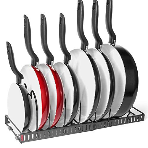 - 7+ Pans BetterThingsHome Expandable Pan Organizer Rack: Can Be Extended to 22.25