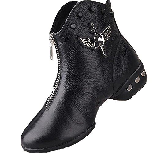 VECJUNIA Ladies Lace-Up Leather High-Top Dance Shoes Ankle Boots Short Boots Black GyCHrSD4