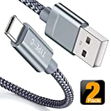 USB Type C Cable,Snowkids USB C Cable 6.6FT(2 PACK) Nylon Braided Cord USB Type A to C Fast Charger for Samsung Galaxy S10 S9 S8 plus Note 9 8,Moto Z,LG V30 V20 G5,Google Pixel 2 XL,OnePlus 5 3T(Grey)