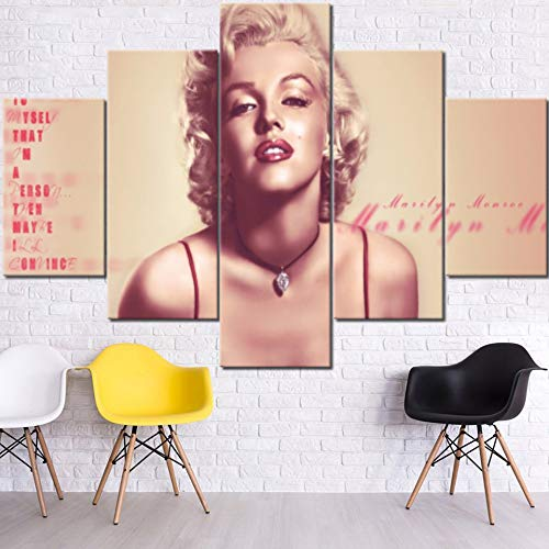 Marilyn Monroe Framed Pictures Sexy Girl Paintings for Living Room American Model Artwork Multi Panel Prints Wall Art on Canvas House Decoration Framed Gallery-Wrapped Ready to Hang(60''Wx40''H)