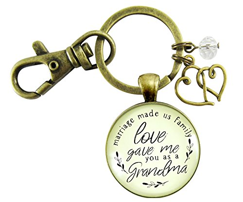 Grandma Gift For Wedding Keychain Marriage Made Us Family Love Made You Grandmother Jewelry Heart Charm