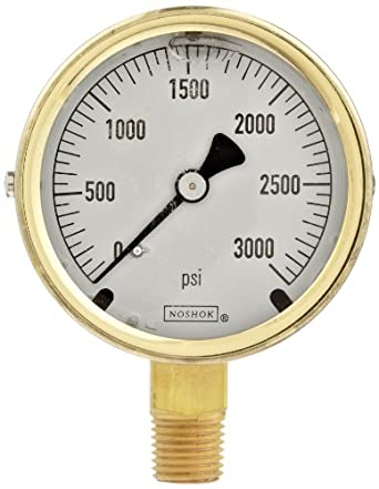 """NOSHOK 300 Series Brass Liquid Filled Dial Indicating Pressure Gauge with Bottom Mount, 2-1/2"""" Dial, +/-1.5% Accuracy, 0-3000 psi Pressure Range"""