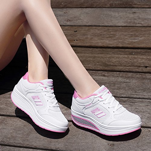 White Women's Wedge Shoes Light Platform Athletic Go 8 Fitness Running Heel Weight Solshine Walking FSpqH7q