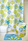 Buzio Anthemy Design Shower Curtain (72 x 72 Inches), Mildew Resistant Bathroom Curtain with 12 Hooks, 100% Polyester Fabric, Green / Blue