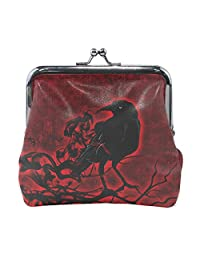 Women Animal Brid Crow Red Black Print Wallet Exquisite Clasp Coin Purse Girls Clutch Handbag