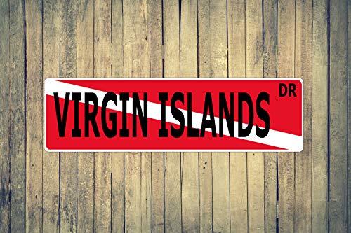 Islands Indoor Flag - Virgin Islands Dive Flag Aluminum Street Sign Indoor Outdoor Use