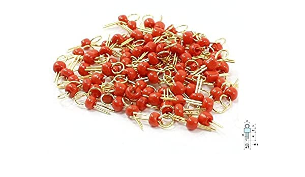 20Pcs Red Gold Tone Soldering PCB Board Breadboard Test Point Pin NEW