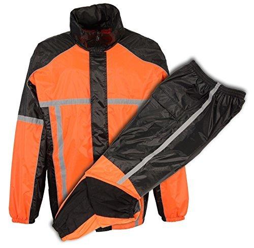 MEN'S MOTORCYCLE MOTORBIKE 100% NYLON RAIN SUIT GEAR BLACK ORANGE DURABLE NEW (2X-Large)