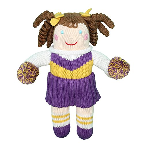 Zubels Baby Girls' Hand-Knit Cheerleader Doll, All-Natural Fibers, Eco-Friendly, 12-Inch, Purple & -