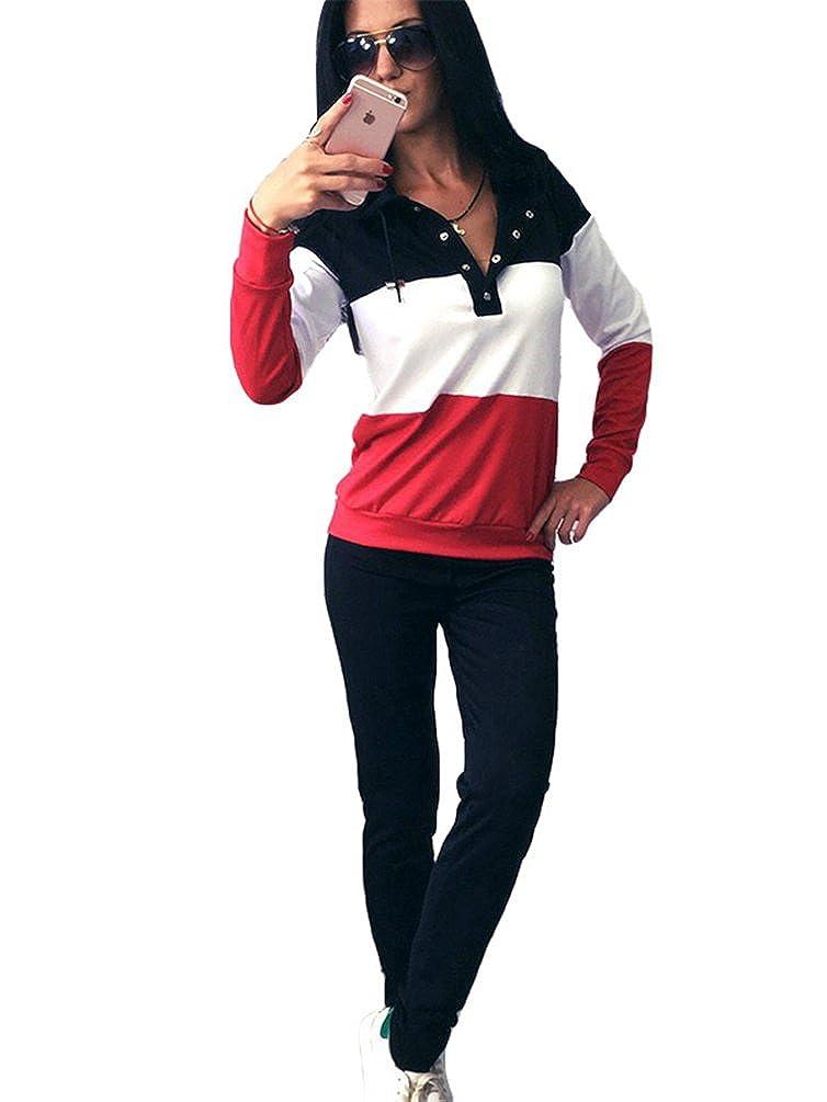 YiLianDa Donne Tuta da Ginnastica Manica Lunga Sport Fitness Jogging Pantaloni Felpa con Cappuccio