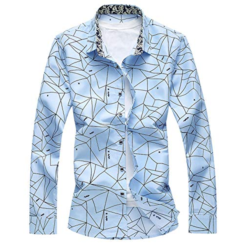 LEKODE Men Shirt Fashion Formal Summer Casual Beach Long Sleeve Printed Blouse(Blue,M(M))]()