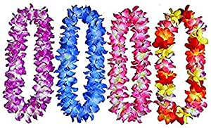 4 pcs Hawaiian Leis Wreaths Necklaces for Adult Kids to Use in Different Occasions Ruffled Simulated Silk Flower Necklace Collar Chest