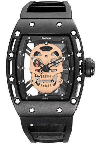 Skone Steampunk Skeleton Pirate Watch Men Skull Hollow Diamond Designer Cool Unique Fashion Style Quartz Wristwatch Silicone Leather Sports Christmas Gift]()