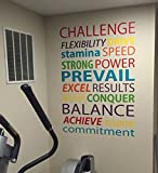 Gym Wall Decal Words, Motivational Fitness Quote Word Decals, typography quote for gym, gym wall sticker