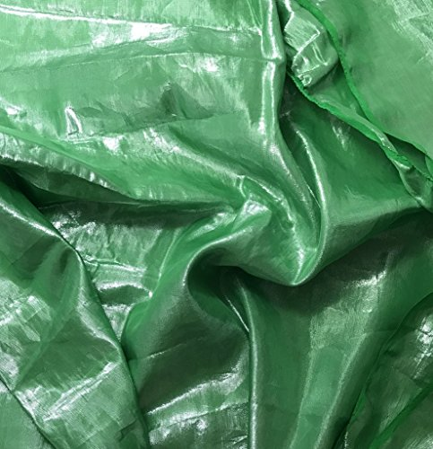 Bright Kelly Green - Hand Dyed Silver Metallic Silk Lame` Fabric