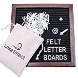 #4: Letter Board Premium Felt 10x10 Wooden - 346 White/Glow in the Dark Letter and Emojis, Durable Canvas Bag, Sturdy Wall Mount, Beautiful Dark Finished Oak Frame, Perfect for Home and Office