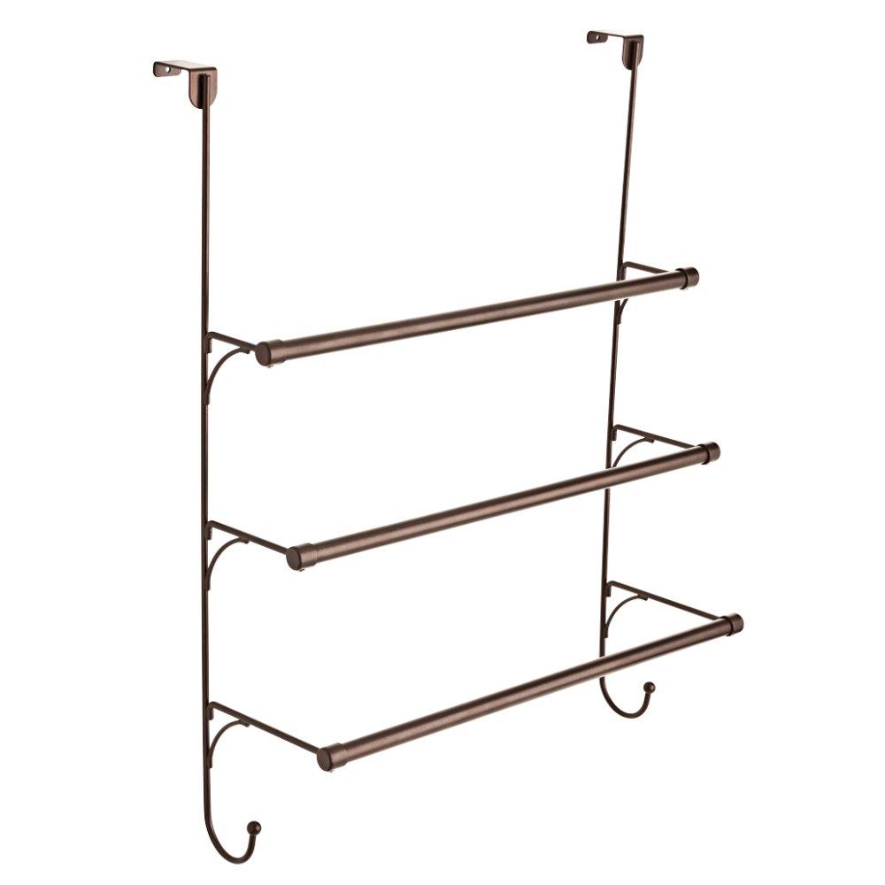 Franklin Brass 193153-CBZ Over the Door Triple Towel Rack with Hooks, Classic Bronze