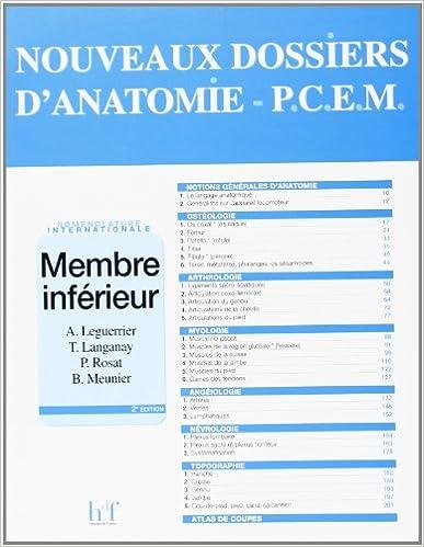 Télécharger en ligne Nouveau dossier de l'anatomie du PCEM : membres inférieures epub pdf