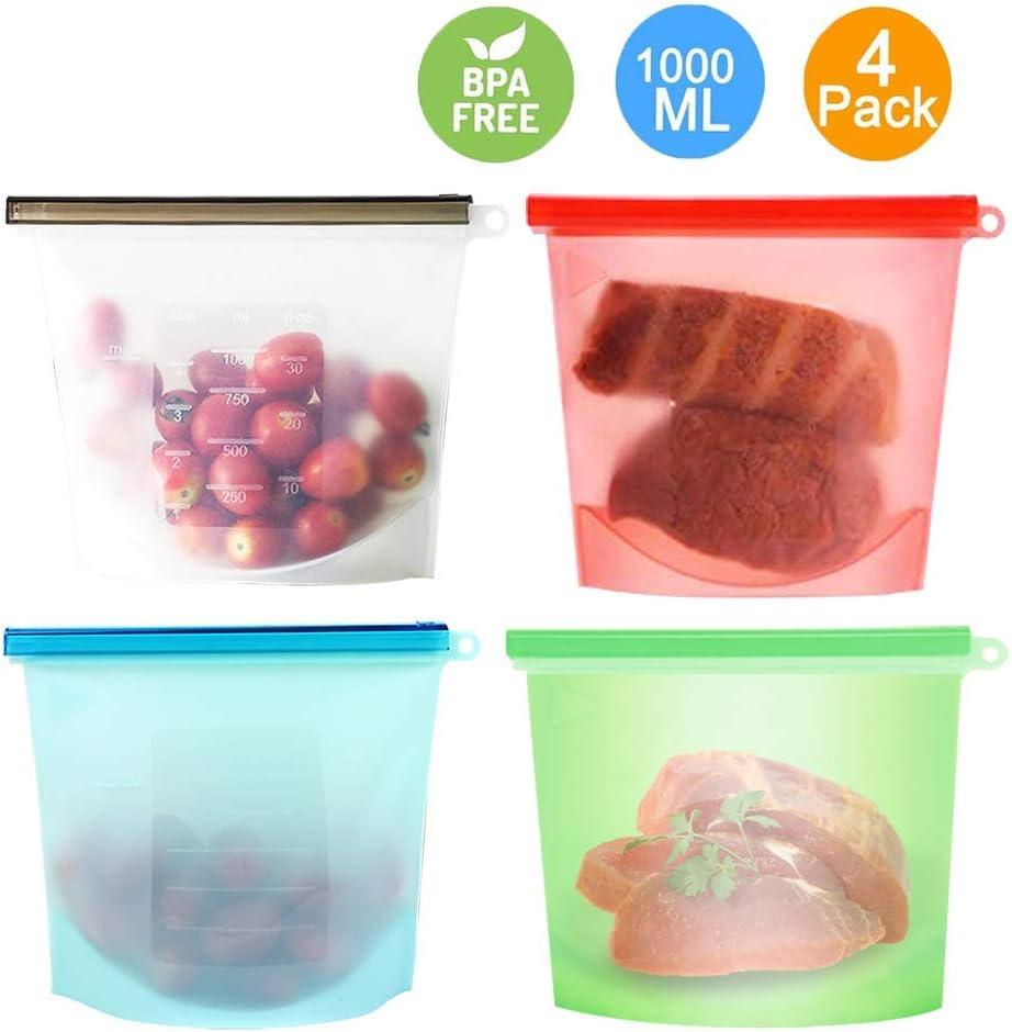 Bolsa de Alimentos, Reutilizables Envase de Bolsas de Preservación Versátil de Grado Silicona Alimenticio ,Sin BPA, higiénica y a prueba de fugas, Juego de 4