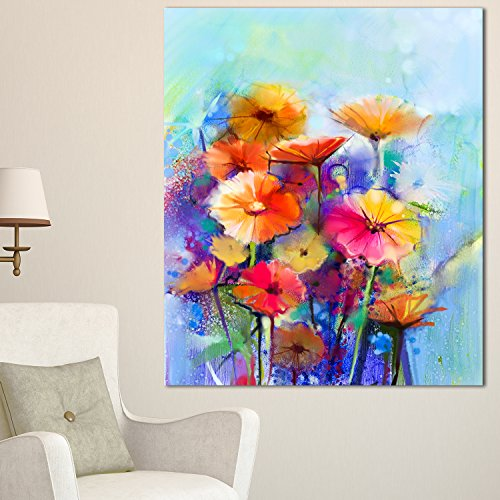 Designart PT15036-30-40 Abstract Floral Watercolor Painting Wall Art Canvas, 30x40'', Blue by Design Art