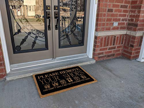 (All Natural Coir Door Mats Gift Please Remove Your Shoes Design Entrance Floor Door Indoor and Outdoor (24X36)