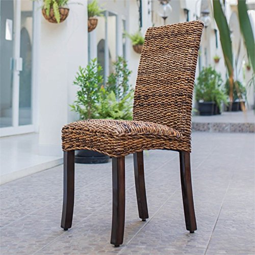 International Caravan SG-3330-2CH-IC Furniture Piece Set of Two Louisa Abaca Cushioned Seat Dining Chair (Rattan Set With Room Dining Chairs)