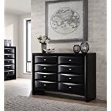 Roundhill Furniture Blemerey Fully Assembled Wood Dresser, Black