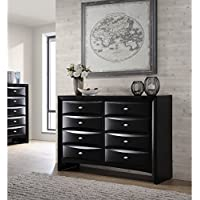 Roundhill Furniture Blemerey Fully Assembled Wood Dresser, Black